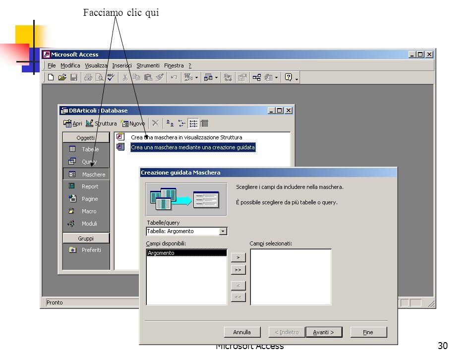 Microsoft Access30 Facciamo clic qui