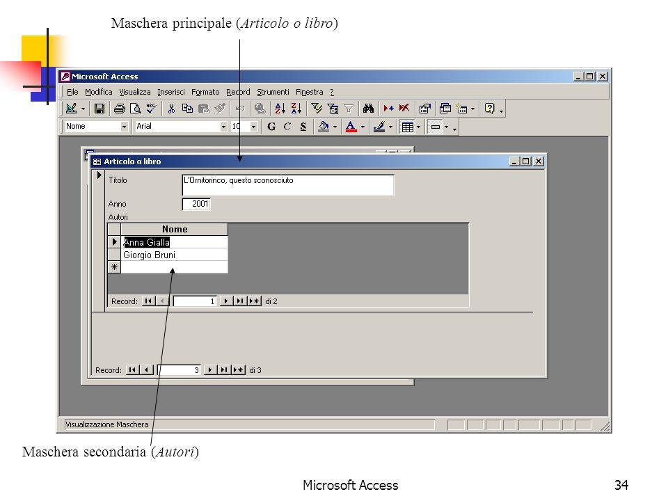 Microsoft Access34 Maschera principale (Articolo o libro) Maschera secondaria (Autori)