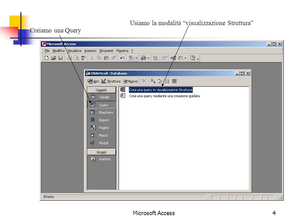Microsoft Access4 Creiamo una Query Usiamo la modalità visualizzazione Struttura