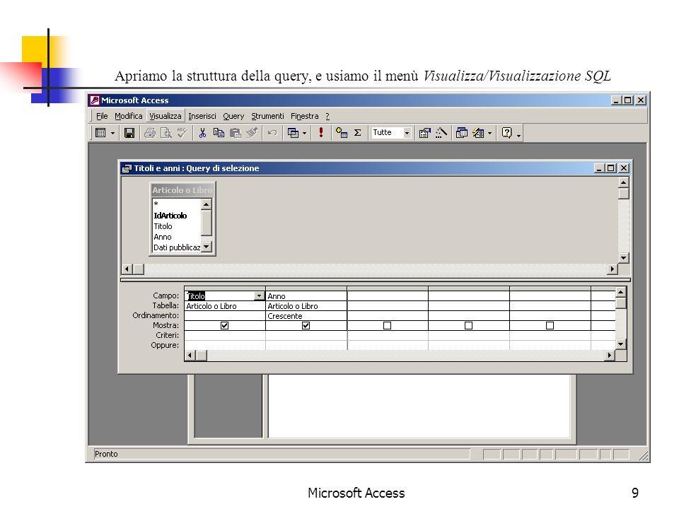 Microsoft Access9 Apriamo la struttura della query, e usiamo il menù Visualizza/Visualizzazione SQL