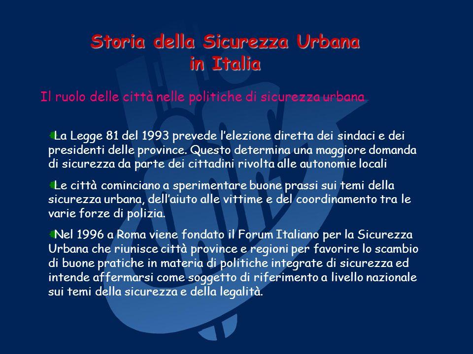 Storia della Sicurezza Urbana in Italia Le tappe del Forum Italiano per la Sicurezza Urbana 5 e 6 marzo 2004 a Napoli viene presentato il libro La sicurezza urbana edito dal Mulino, a cura del FISU