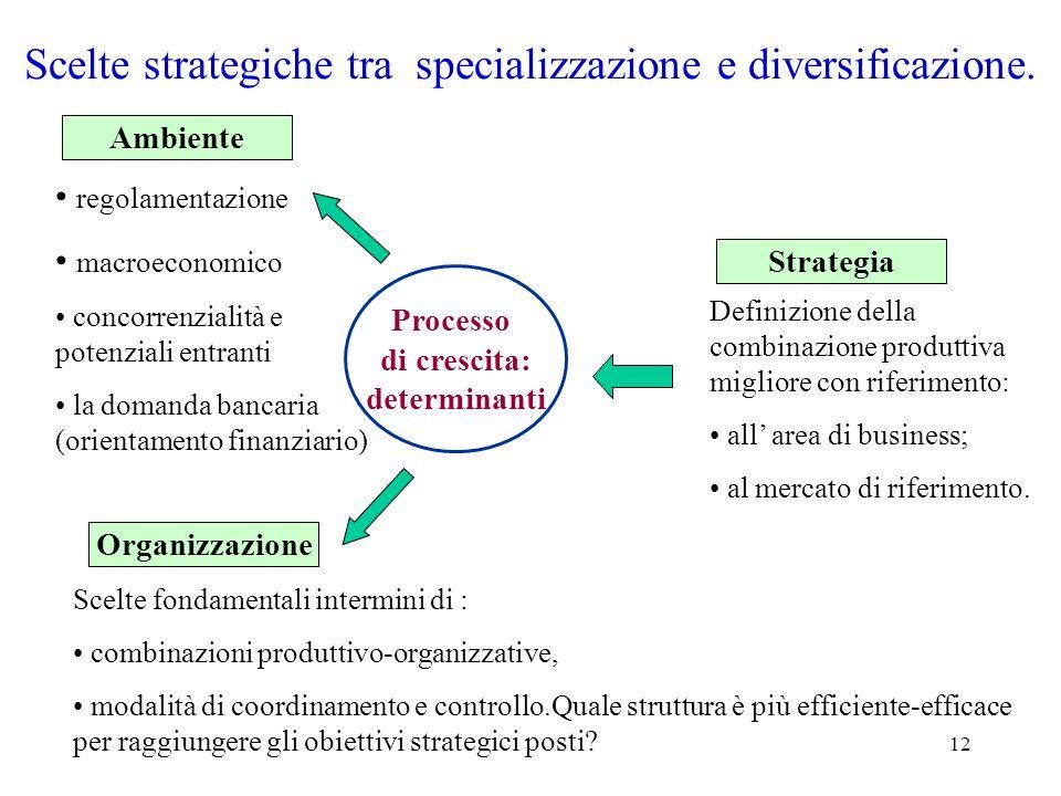 12 Scelte strategiche tra specializzazione e diversificazione. Processo di crescita: determinanti Ambiente regolamentazione macroeconomico concorrenzi
