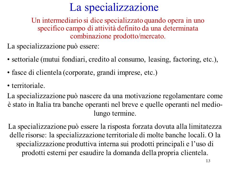 13 La specializzazione Un intermediario si dice specializzato quando opera in uno specifico campo di attività definito da una determinata combinazione