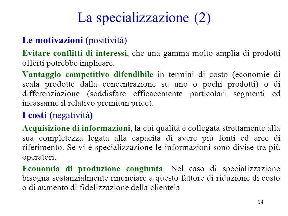 14 La specializzazione (2) Le motivazioni (positività) Evitare conflitti di interessi, che una gamma molto amplia di prodotti offerti potrebbe implica