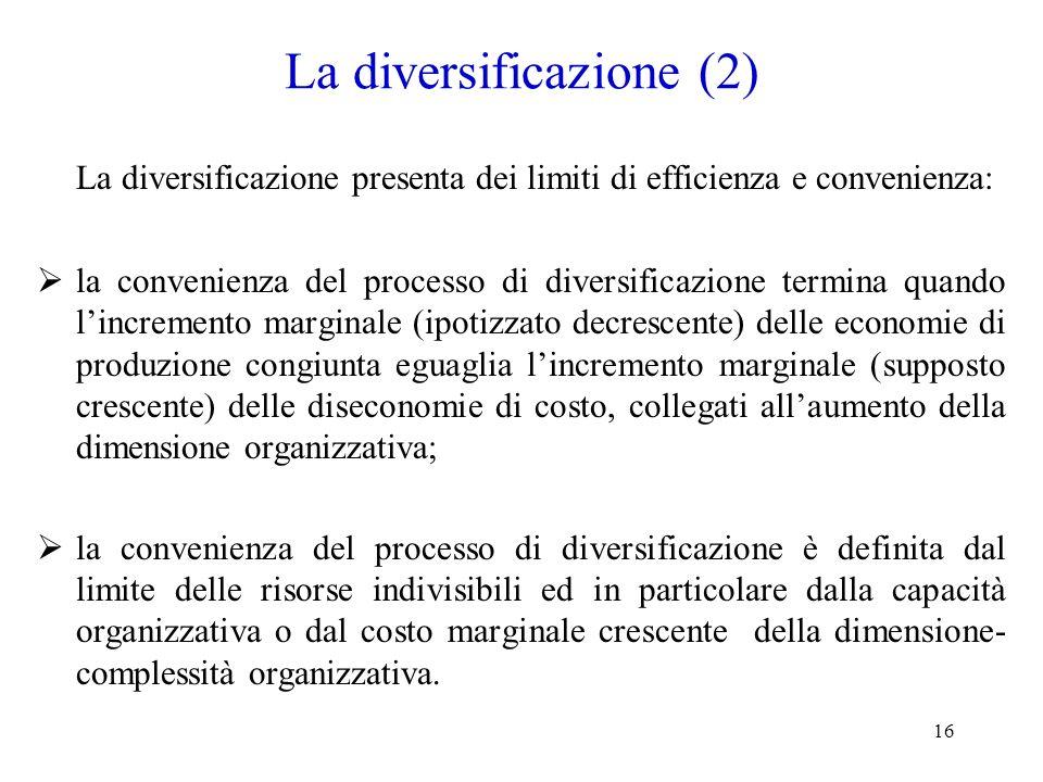 16 La diversificazione (2) La diversificazione presenta dei limiti di efficienza e convenienza: la convenienza del processo di diversificazione termin