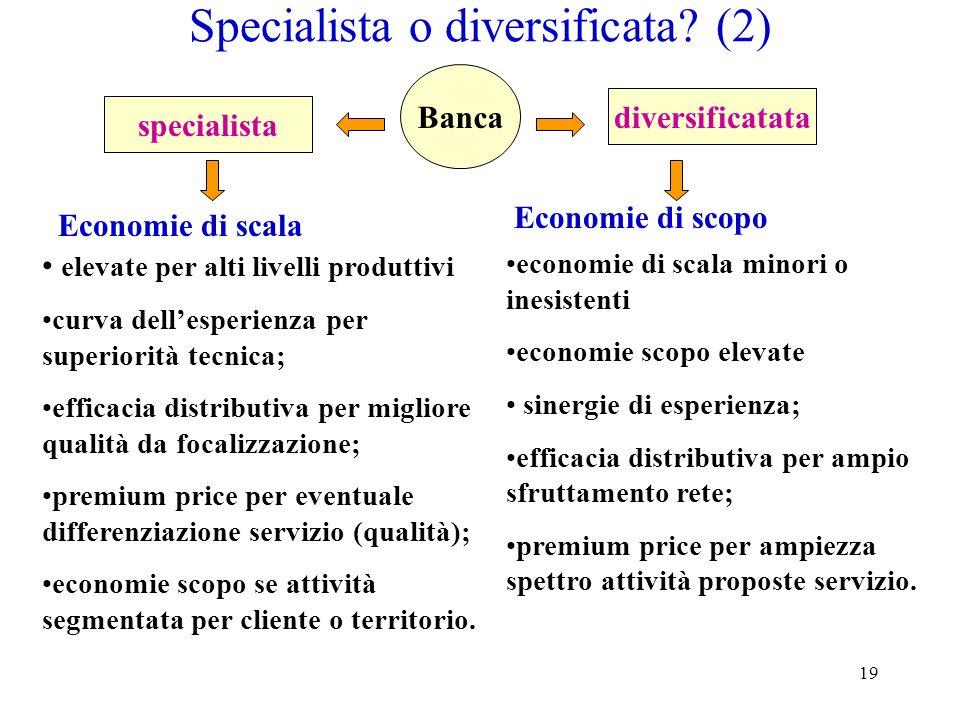19 Specialista o diversificata? (2) elevate per alti livelli produttivi curva dellesperienza per superiorità tecnica; efficacia distributiva per migli