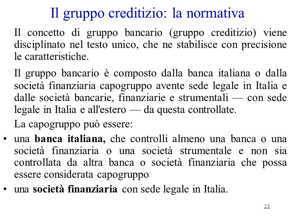 22 Il gruppo creditizio: la normativa Il concetto di gruppo bancario (gruppo creditizio) viene disciplinato nel testo unico, che ne stabilisce con pre