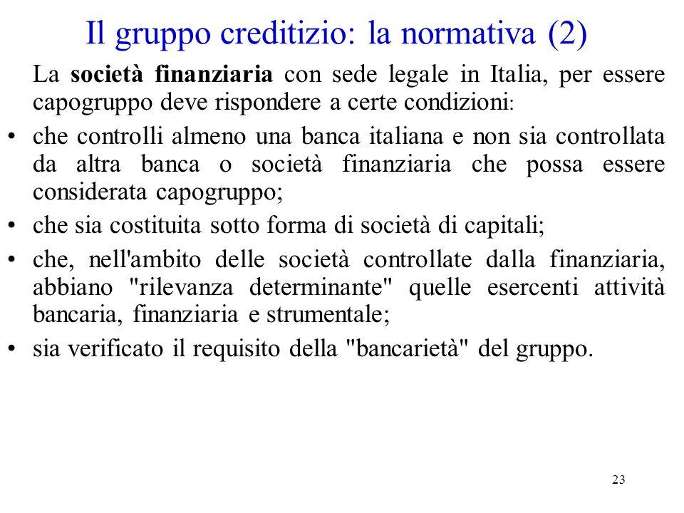 23 Il gruppo creditizio: la normativa (2) La società finanziaria con sede legale in Italia, per essere capogruppo deve rispondere a certe condizioni :
