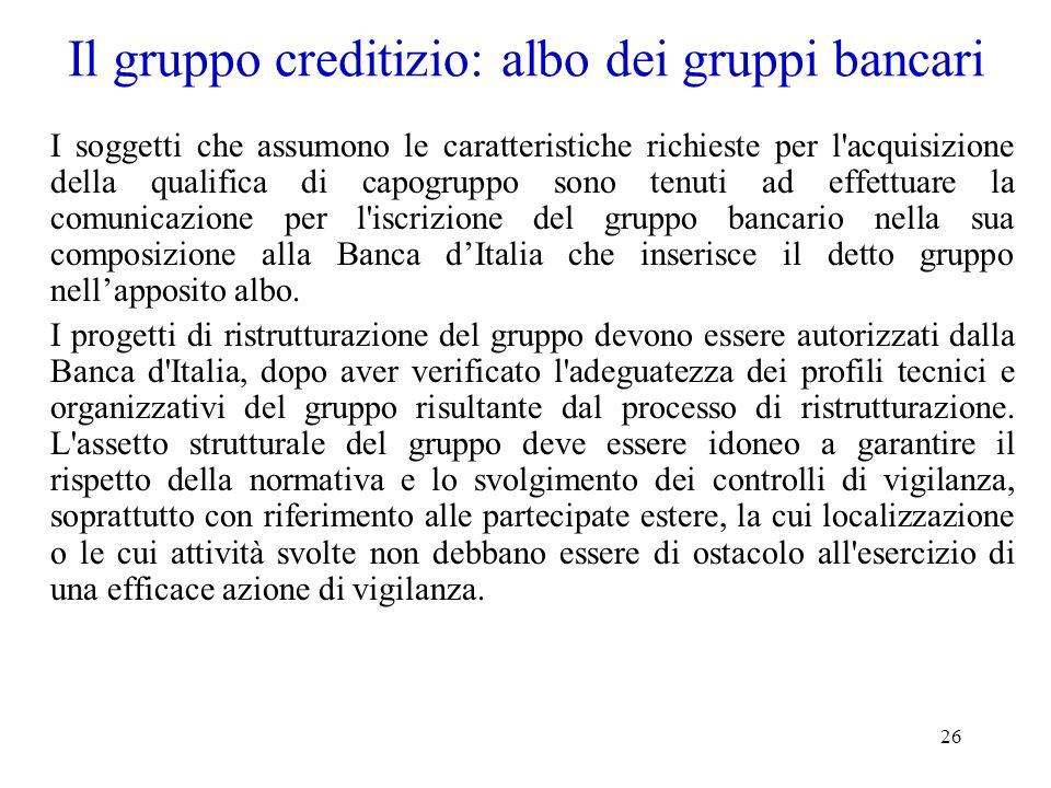 26 Il gruppo creditizio: albo dei gruppi bancari I soggetti che assumono le caratteristiche richieste per l'acquisizione della qualifica di capogruppo