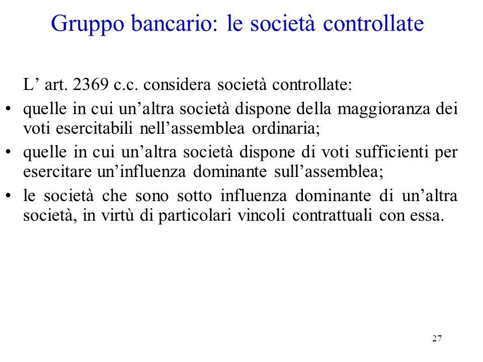 27 Gruppo bancario: le società controllate L art. 2369 c.c. considera società controllate: quelle in cui unaltra società dispone della maggioranza dei
