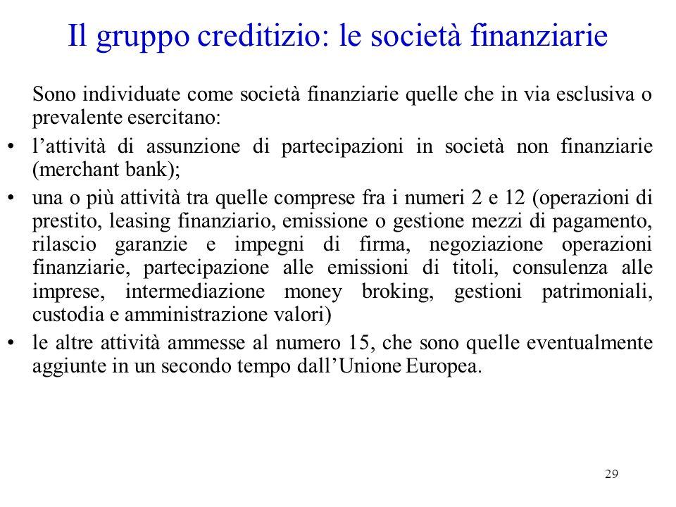 29 Il gruppo creditizio: le società finanziarie Sono individuate come società finanziarie quelle che in via esclusiva o prevalente esercitano: lattivi