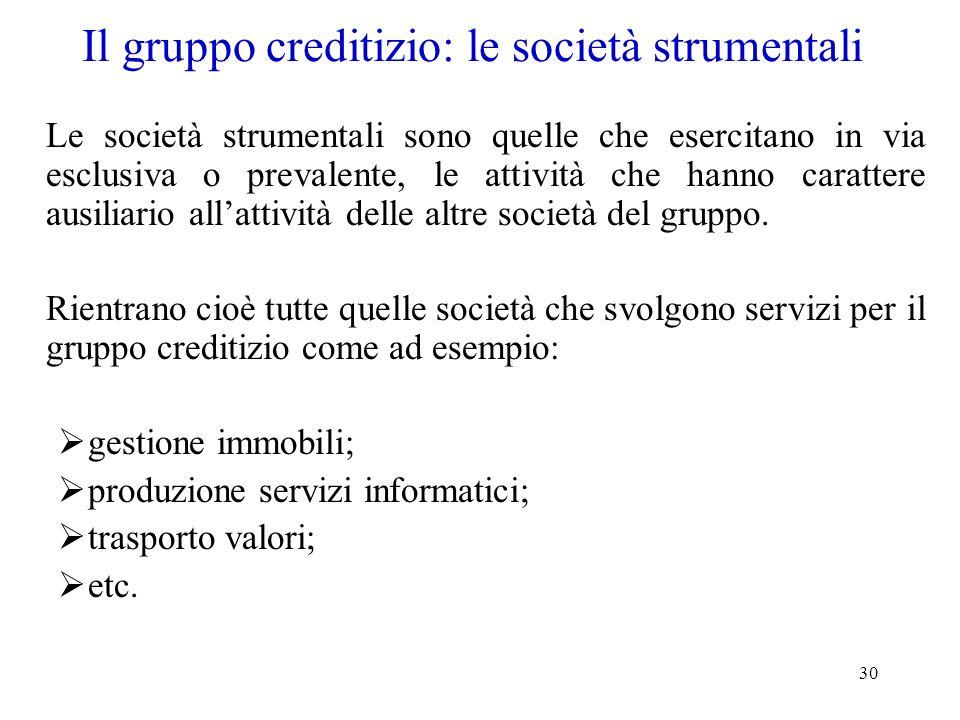30 Il gruppo creditizio: le società strumentali Le società strumentali sono quelle che esercitano in via esclusiva o prevalente, le attività che hanno