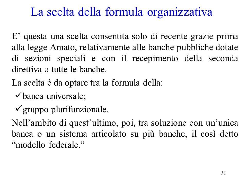 31 La scelta della formula organizzativa E questa una scelta consentita solo di recente grazie prima alla legge Amato, relativamente alle banche pubbl
