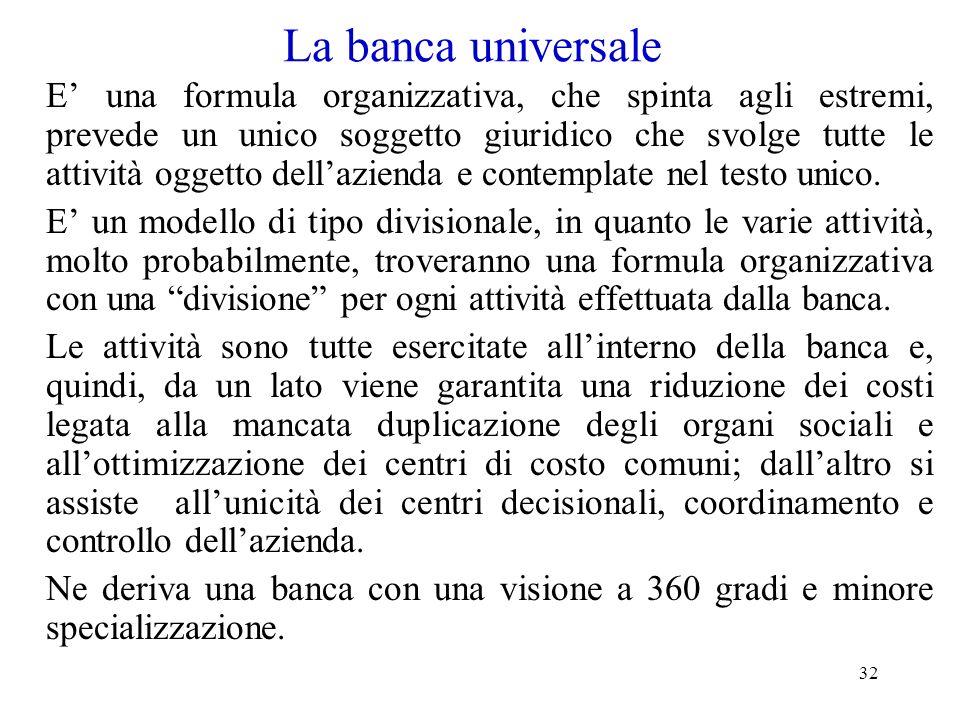 32 La banca universale E una formula organizzativa, che spinta agli estremi, prevede un unico soggetto giuridico che svolge tutte le attività oggetto