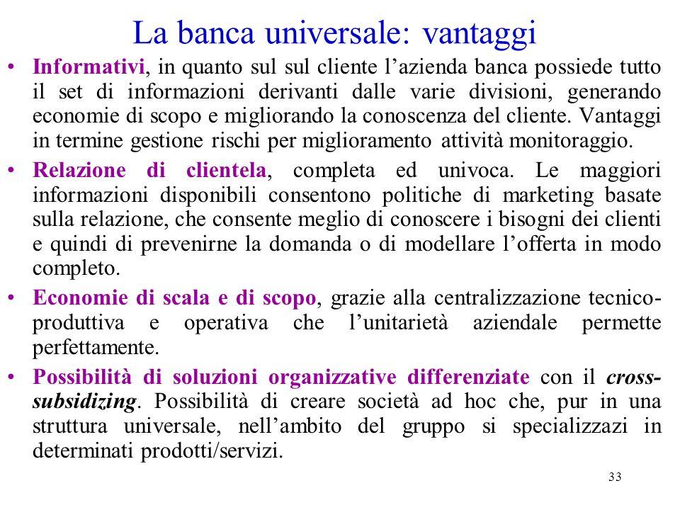 33 La banca universale: vantaggi Informativi, in quanto sul sul cliente lazienda banca possiede tutto il set di informazioni derivanti dalle varie div