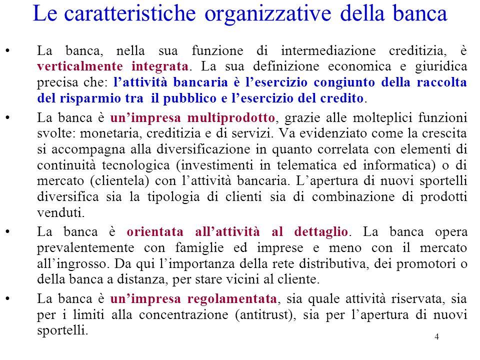 4 Le caratteristiche organizzative della banca La banca, nella sua funzione di intermediazione creditizia, è verticalmente integrata. La sua definizio