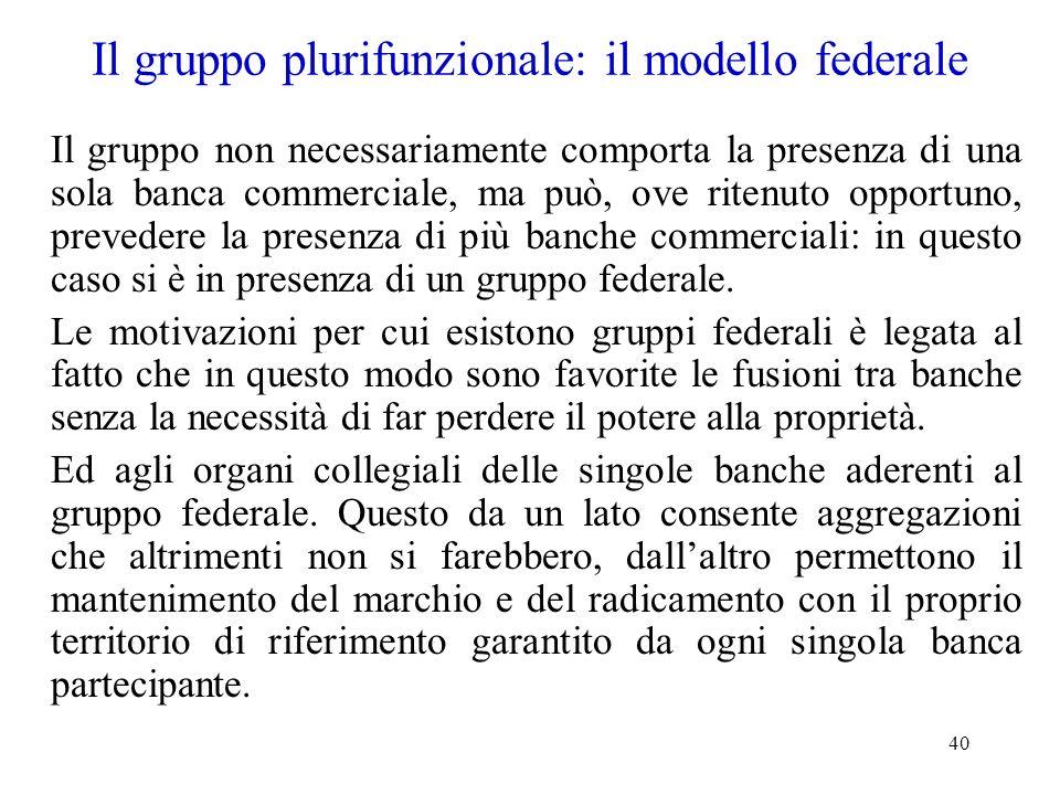 40 Il gruppo plurifunzionale: il modello federale Il gruppo non necessariamente comporta la presenza di una sola banca commerciale, ma può, ove ritenu
