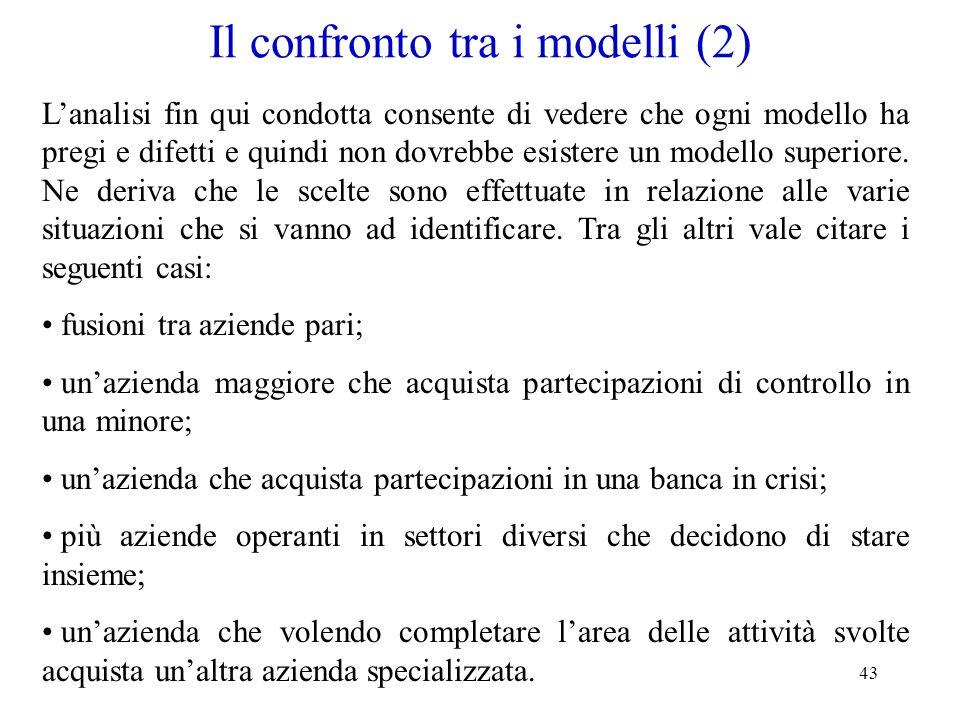 43 Il confronto tra i modelli (2) Lanalisi fin qui condotta consente di vedere che ogni modello ha pregi e difetti e quindi non dovrebbe esistere un m