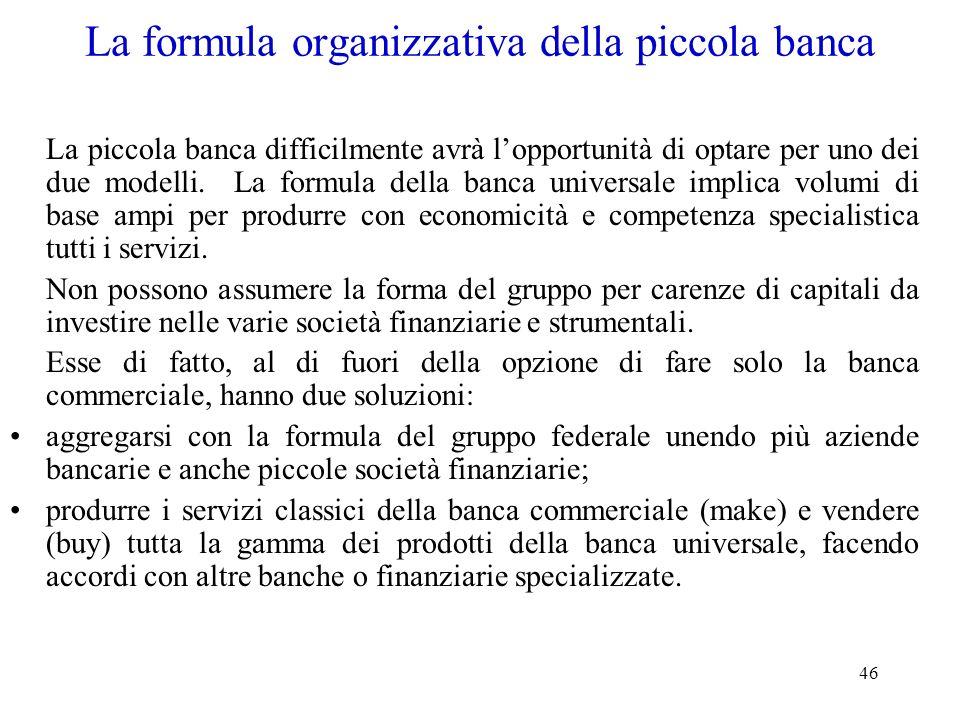 46 La formula organizzativa della piccola banca La piccola banca difficilmente avrà lopportunità di optare per uno dei due modelli. La formula della b