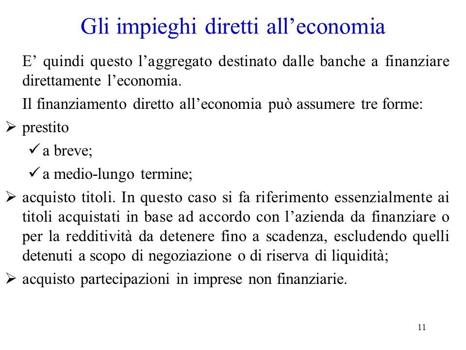 11 Gli impieghi diretti alleconomia E quindi questo laggregato destinato dalle banche a finanziare direttamente leconomia. Il finanziamento diretto al