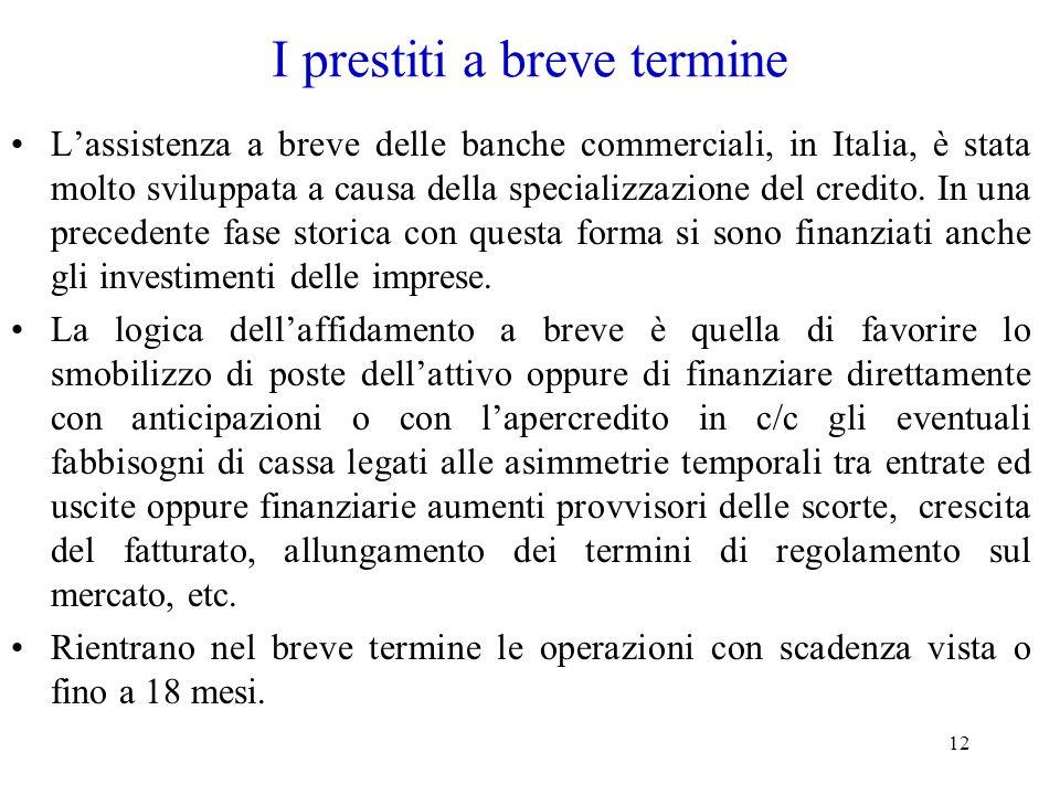 12 I prestiti a breve termine Lassistenza a breve delle banche commerciali, in Italia, è stata molto sviluppata a causa della specializzazione del cre