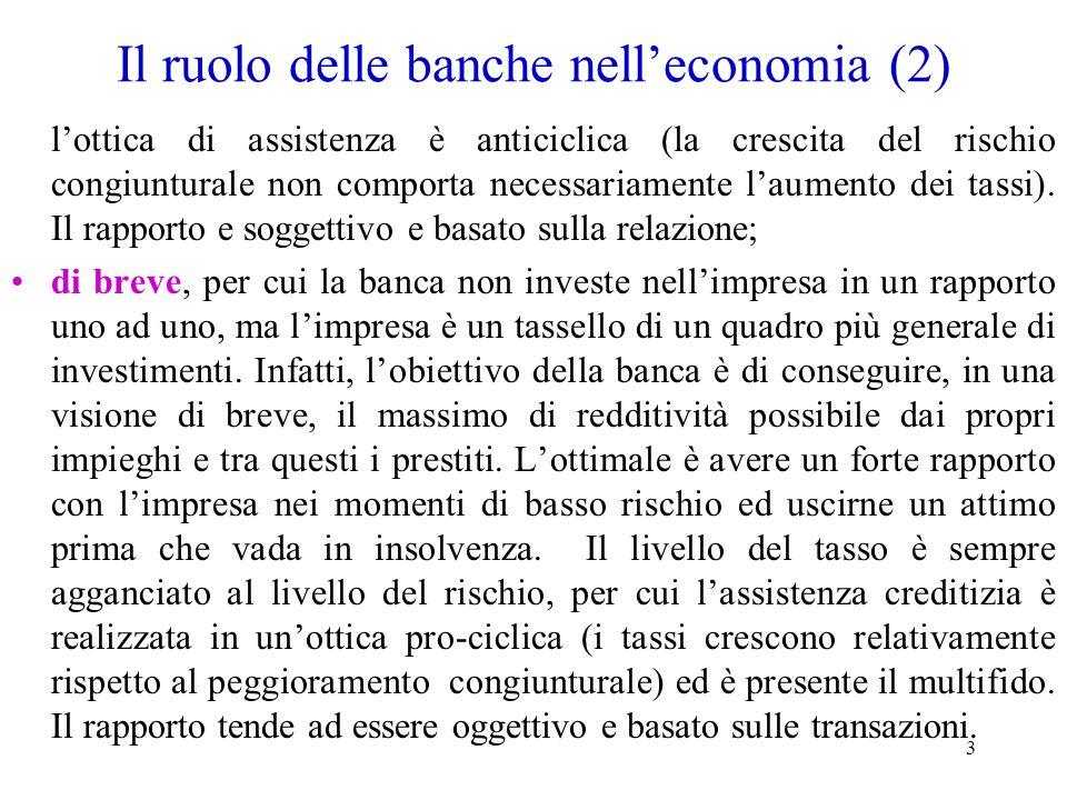 3 Il ruolo delle banche nelleconomia (2) lottica di assistenza è anticiclica (la crescita del rischio congiunturale non comporta necessariamente laume