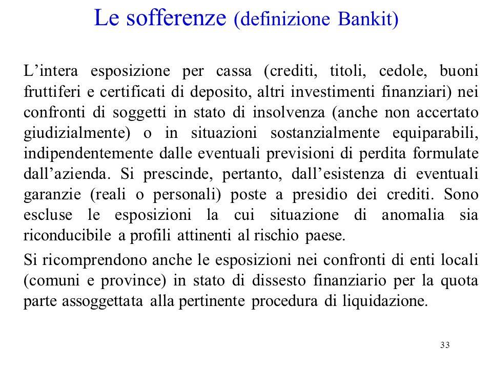 33 Le sofferenze (definizione Bankit) Lintera esposizione per cassa (crediti, titoli, cedole, buoni fruttiferi e certificati di deposito, altri invest