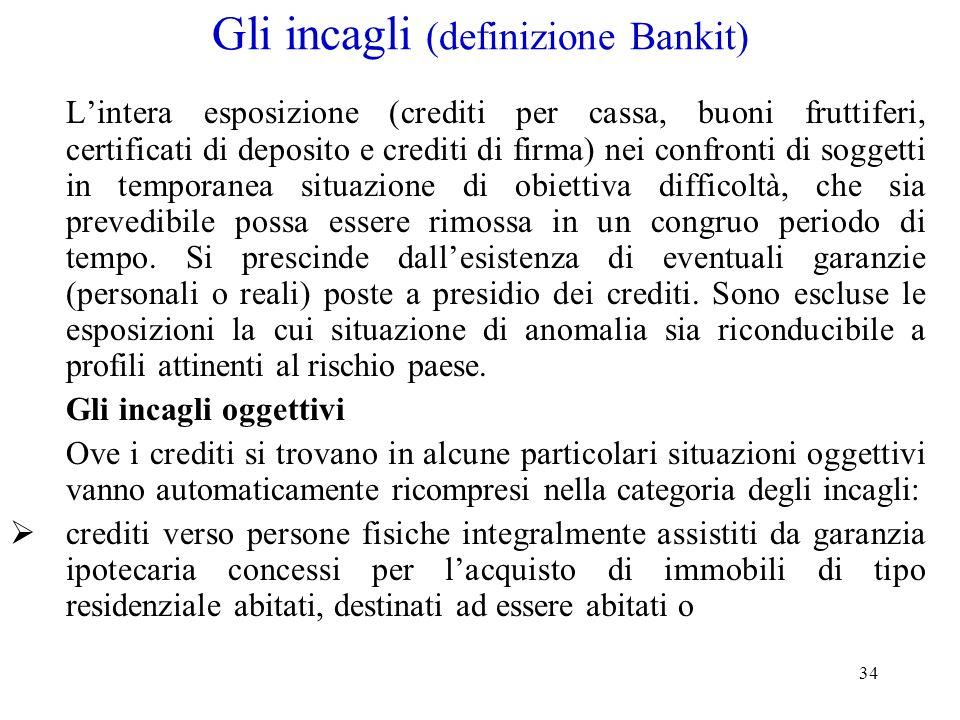 34 Gli incagli (definizione Bankit) Lintera esposizione (crediti per cassa, buoni fruttiferi, certificati di deposito e crediti di firma) nei confront