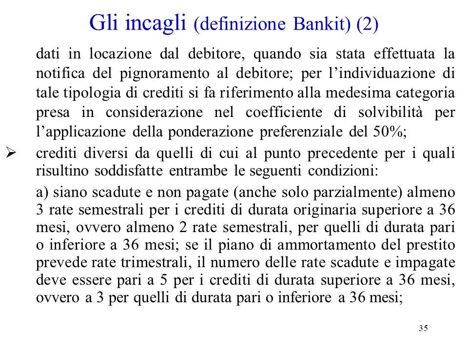 35 Gli incagli (definizione Bankit) (2) dati in locazione dal debitore, quando sia stata effettuata la notifica del pignoramento al debitore; per lind