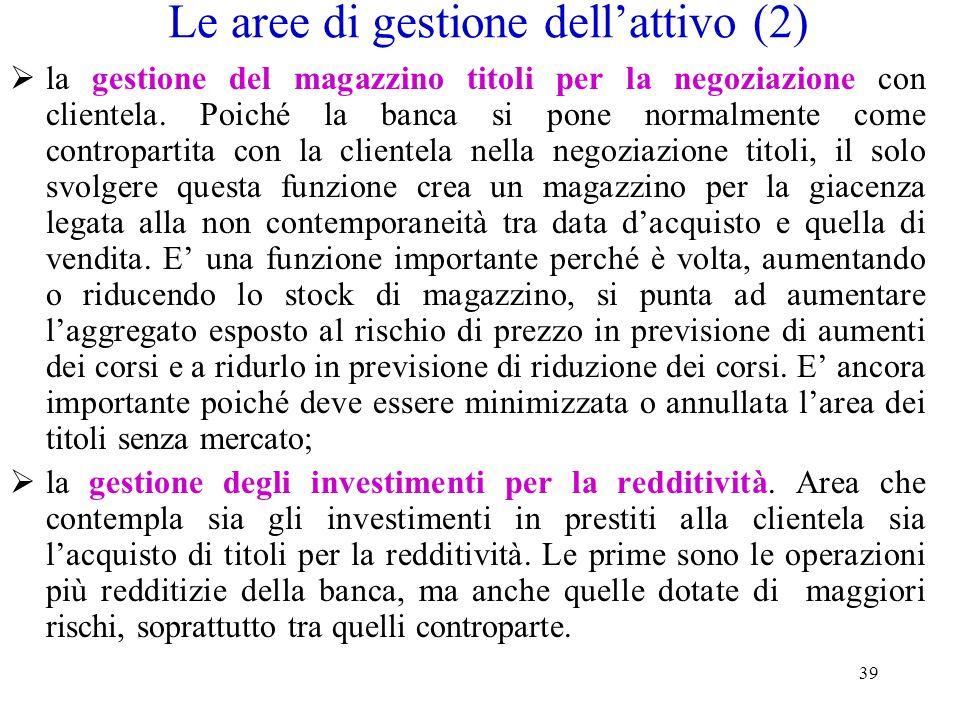 39 Le aree di gestione dellattivo (2) la gestione del magazzino titoli per la negoziazione con clientela. Poiché la banca si pone normalmente come con