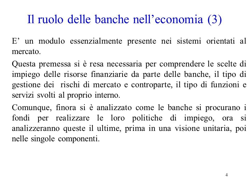 4 Il ruolo delle banche nelleconomia (3) E un modulo essenzialmente presente nei sistemi orientati al mercato. Questa premessa si è resa necessaria pe