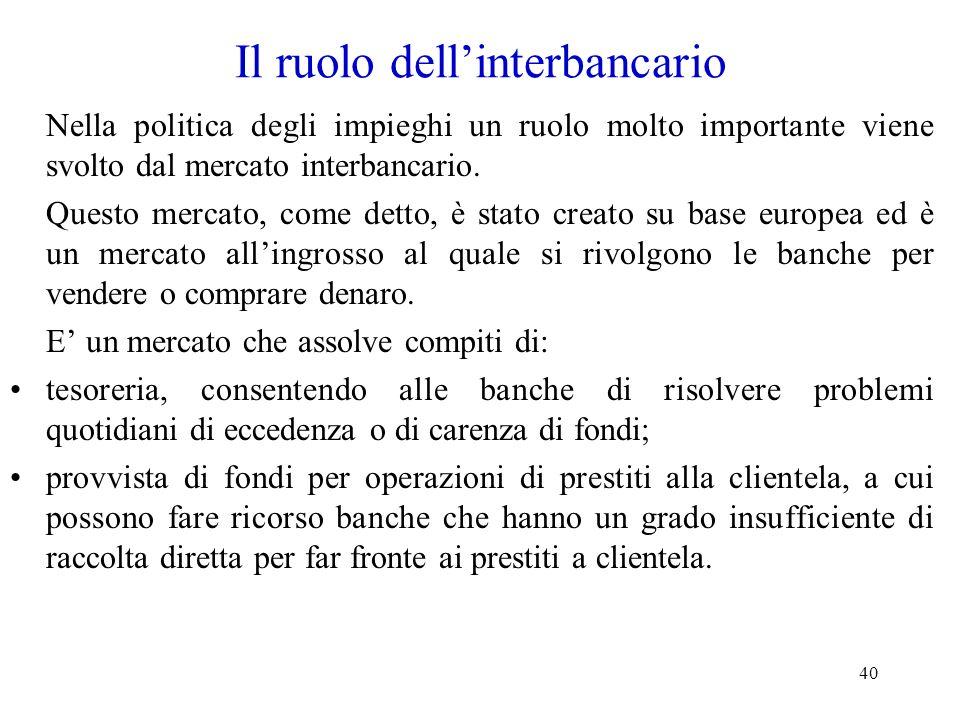 40 Il ruolo dellinterbancario Nella politica degli impieghi un ruolo molto importante viene svolto dal mercato interbancario. Questo mercato, come det