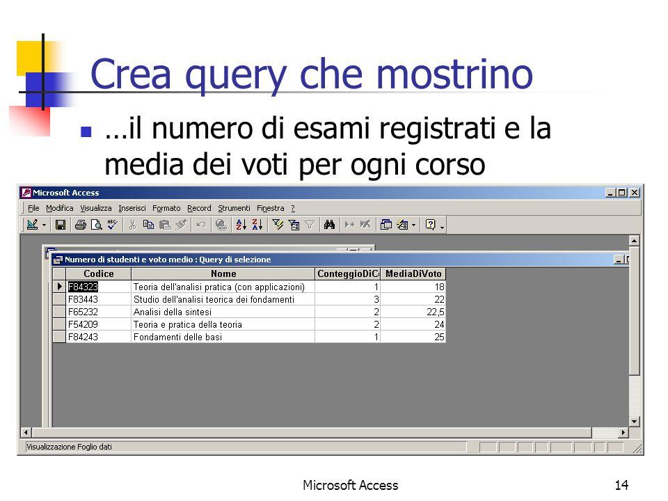 Microsoft Access14 Crea query che mostrino …il numero di esami registrati e la media dei voti per ogni corso