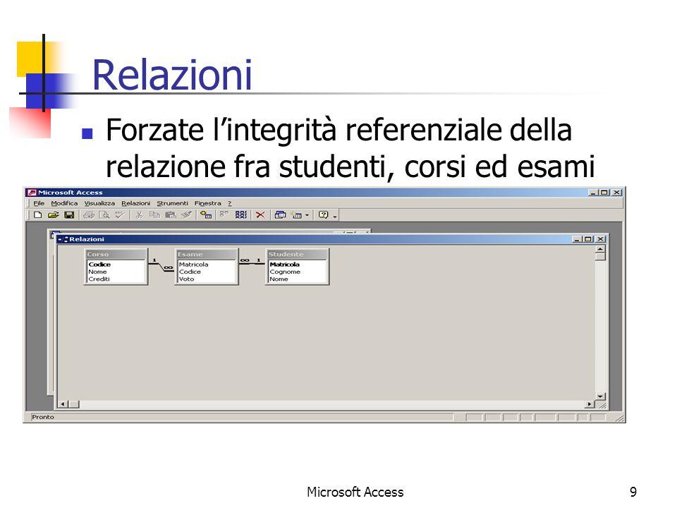 9 Relazioni Forzate lintegrità referenziale della relazione fra studenti, corsi ed esami