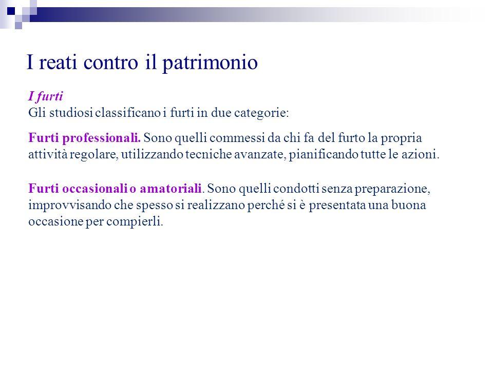 I reati contro il patrimonio I furti Gli studiosi classificano i furti in due categorie: Furti professionali. Sono quelli commessi da chi fa del furto