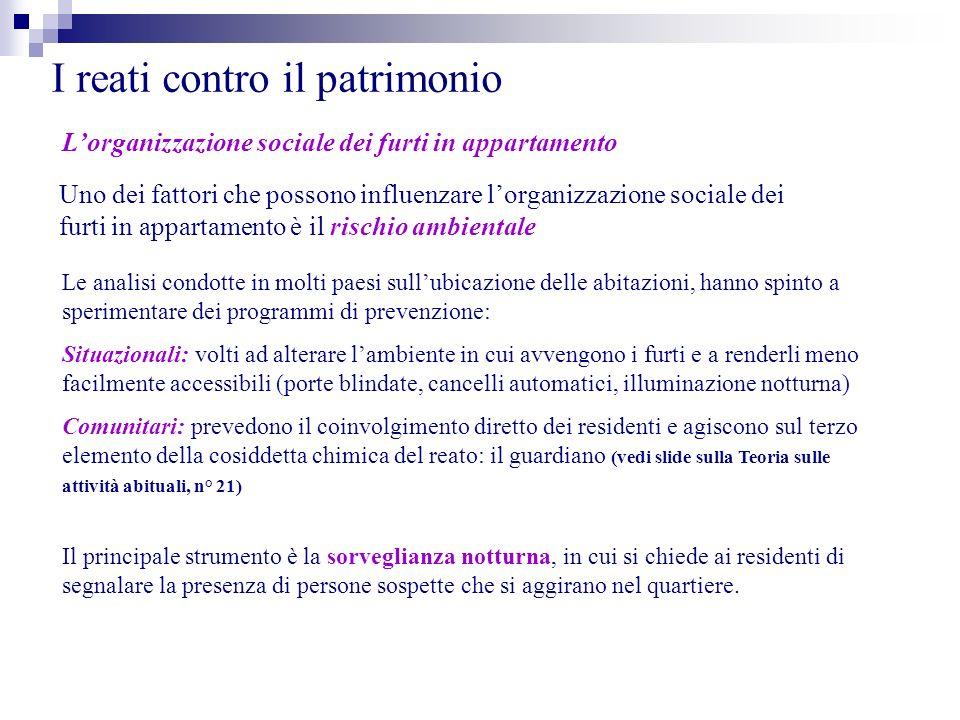 I reati contro il patrimonio Lorganizzazione sociale dei furti in appartamento Uno dei fattori che possono influenzare lorganizzazione sociale dei fur
