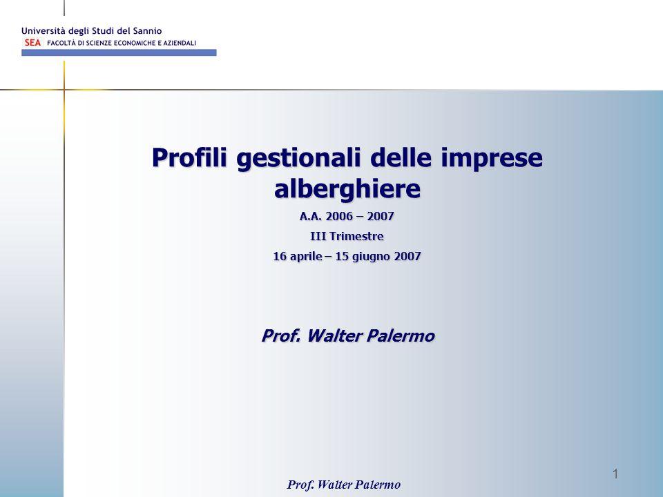 Prof. Walter Palermo 1 Profili gestionali delle imprese alberghiere A.A. 2006 – 2007 III Trimestre 16 aprile – 15 giugno 2007 Prof. Walter Palermo