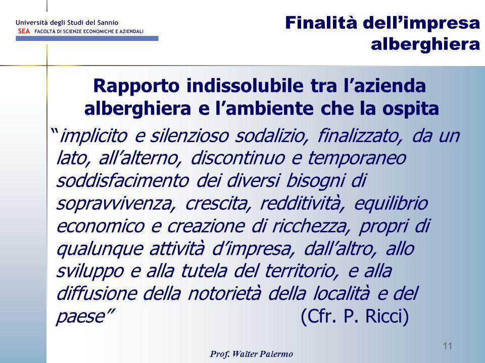 Prof. Walter Palermo 11 Finalità dellimpresa alberghiera Rapporto indissolubile tra lazienda alberghiera e lambiente che la ospita implicito e silenzi