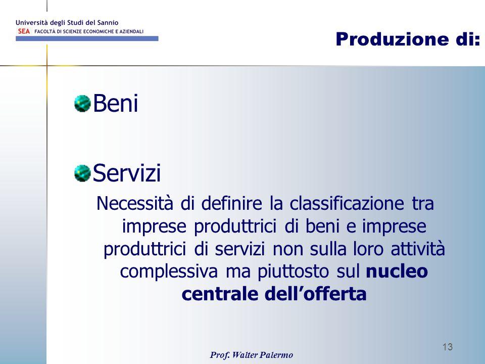 Prof. Walter Palermo 13 Produzione di: Beni Servizi Necessità di definire la classificazione tra imprese produttrici di beni e imprese produttrici di