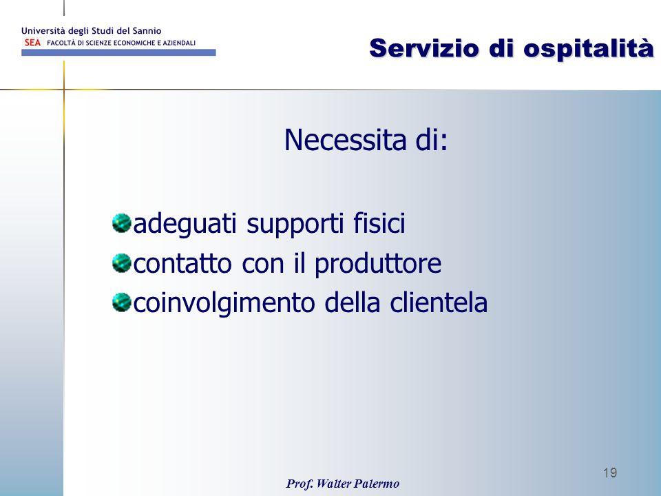 Prof. Walter Palermo 19 Servizio di ospitalità Necessita di: adeguati supporti fisici contatto con il produttore coinvolgimento della clientela