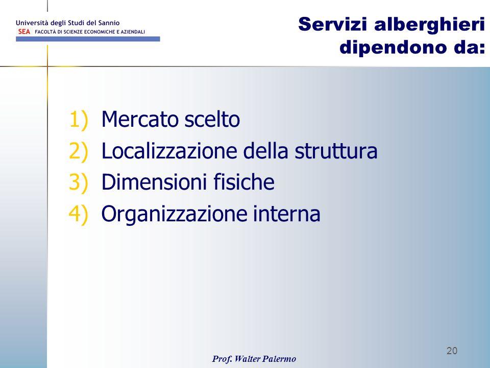 Prof. Walter Palermo 20 Servizi alberghieri dipendono da: 1)Mercato scelto 2)Localizzazione della struttura 3)Dimensioni fisiche 4)Organizzazione inte