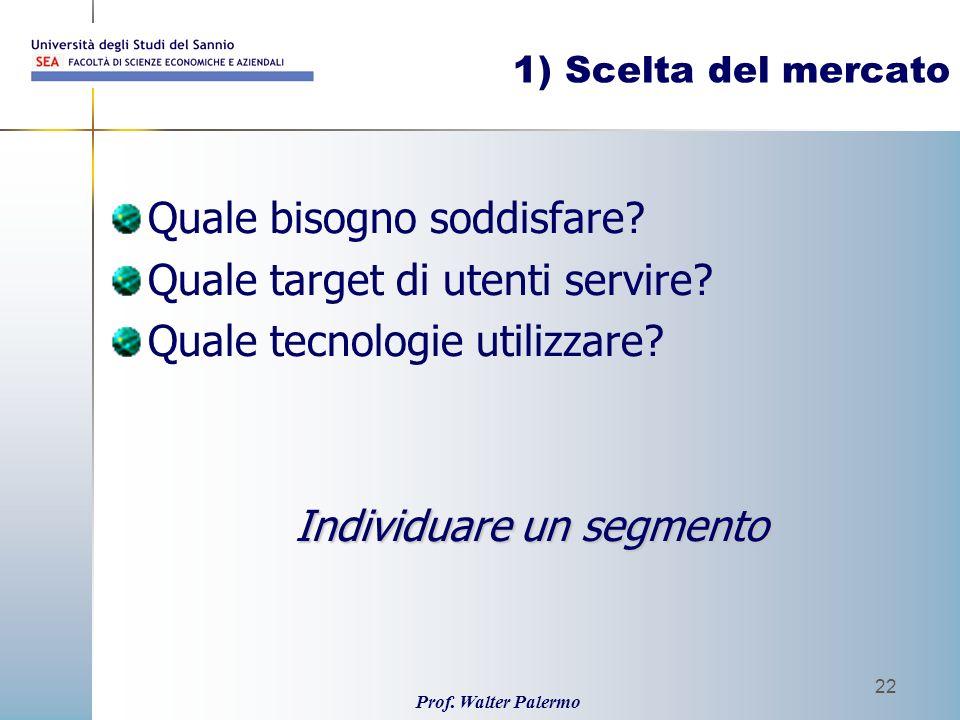 Prof. Walter Palermo 22 1) Scelta del mercato Quale bisogno soddisfare? Quale target di utenti servire? Quale tecnologie utilizzare? Individuare un se