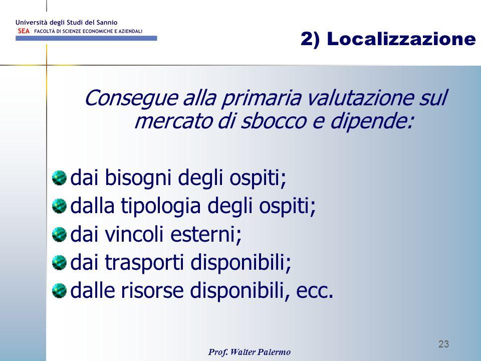 Prof. Walter Palermo 23 2) Localizzazione Consegue alla primaria valutazione sul mercato di sbocco e dipende: dai bisogni degli ospiti; dalla tipologi