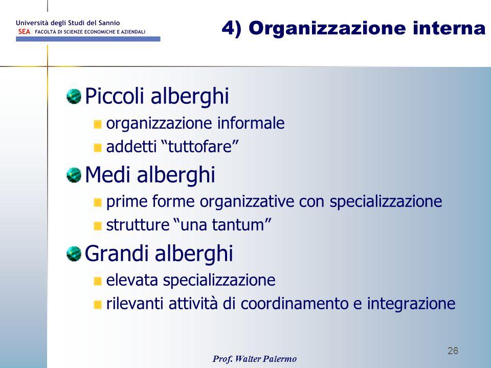 Prof. Walter Palermo 26 4) Organizzazione interna Piccoli alberghi organizzazione informale addetti tuttofare Medi alberghi prime forme organizzative