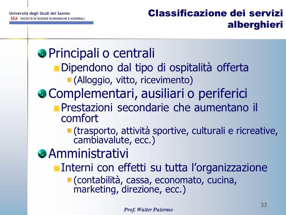 Prof. Walter Palermo 33 Classificazione dei servizi alberghieri Principali o centrali Dipendono dal tipo di ospitalità offerta (Alloggio, vitto, ricev