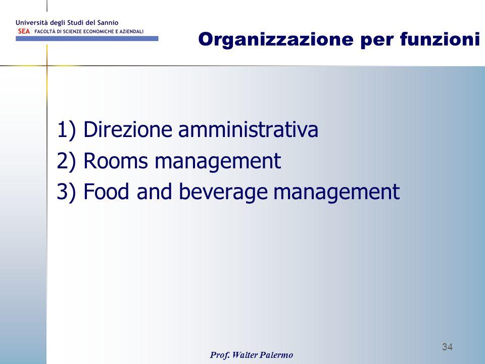 Prof. Walter Palermo 34 Organizzazione per funzioni 1) Direzione amministrativa 2) Rooms management 3) Food and beverage management