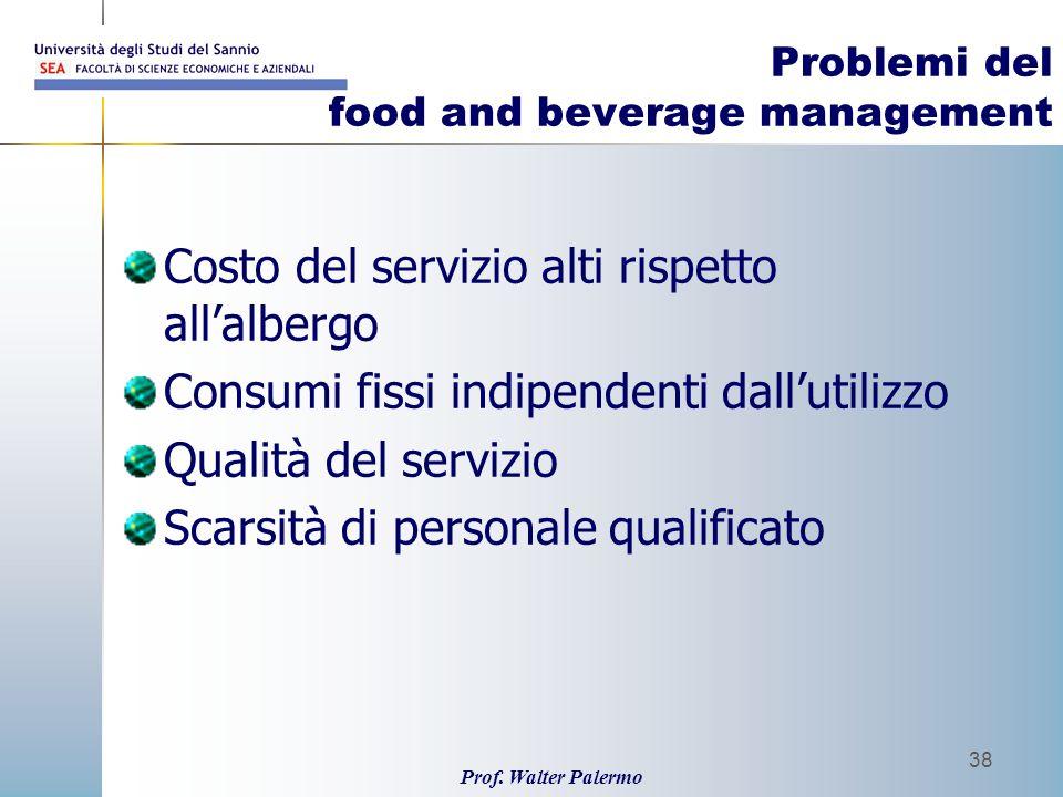 Prof. Walter Palermo 38 Problemi del food and beverage management Costo del servizio alti rispetto allalbergo Consumi fissi indipendenti dallutilizzo
