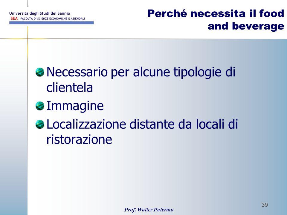 Prof. Walter Palermo 39 Perché necessita il food and beverage Necessario per alcune tipologie di clientela Immagine Localizzazione distante da locali