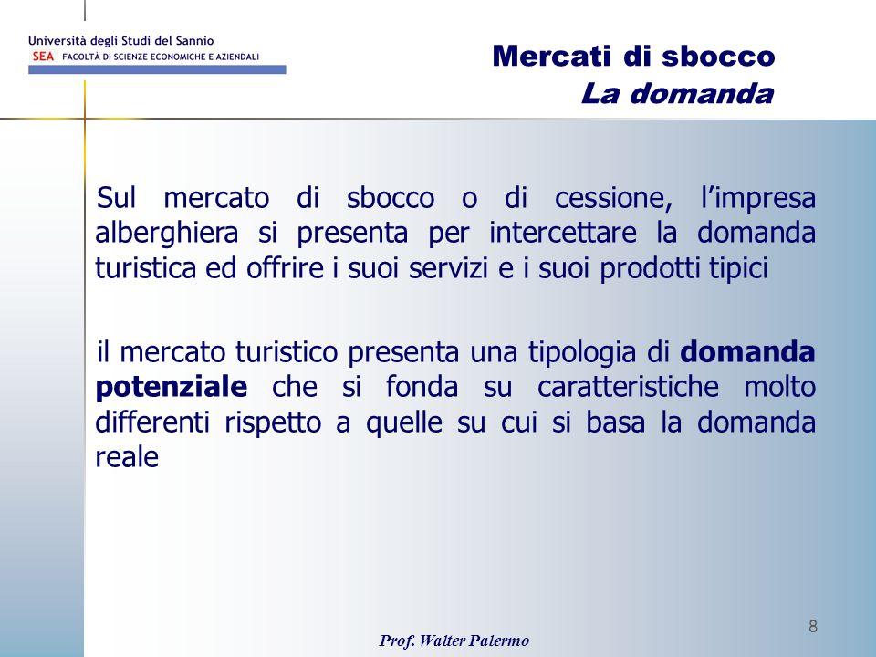 Prof. Walter Palermo 8 Mercati di sbocco La domanda Sul mercato di sbocco o di cessione, limpresa alberghiera si presenta per intercettare la domanda