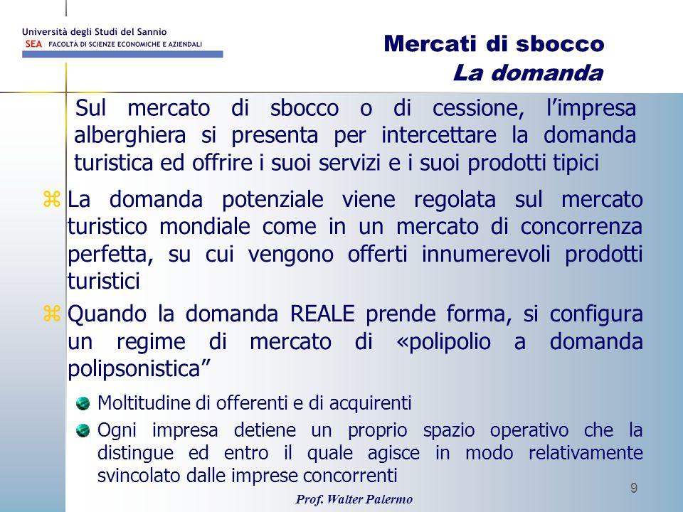 Prof. Walter Palermo 9 Mercati di sbocco La domanda zLa domanda potenziale viene regolata sul mercato turistico mondiale come in un mercato di concorr